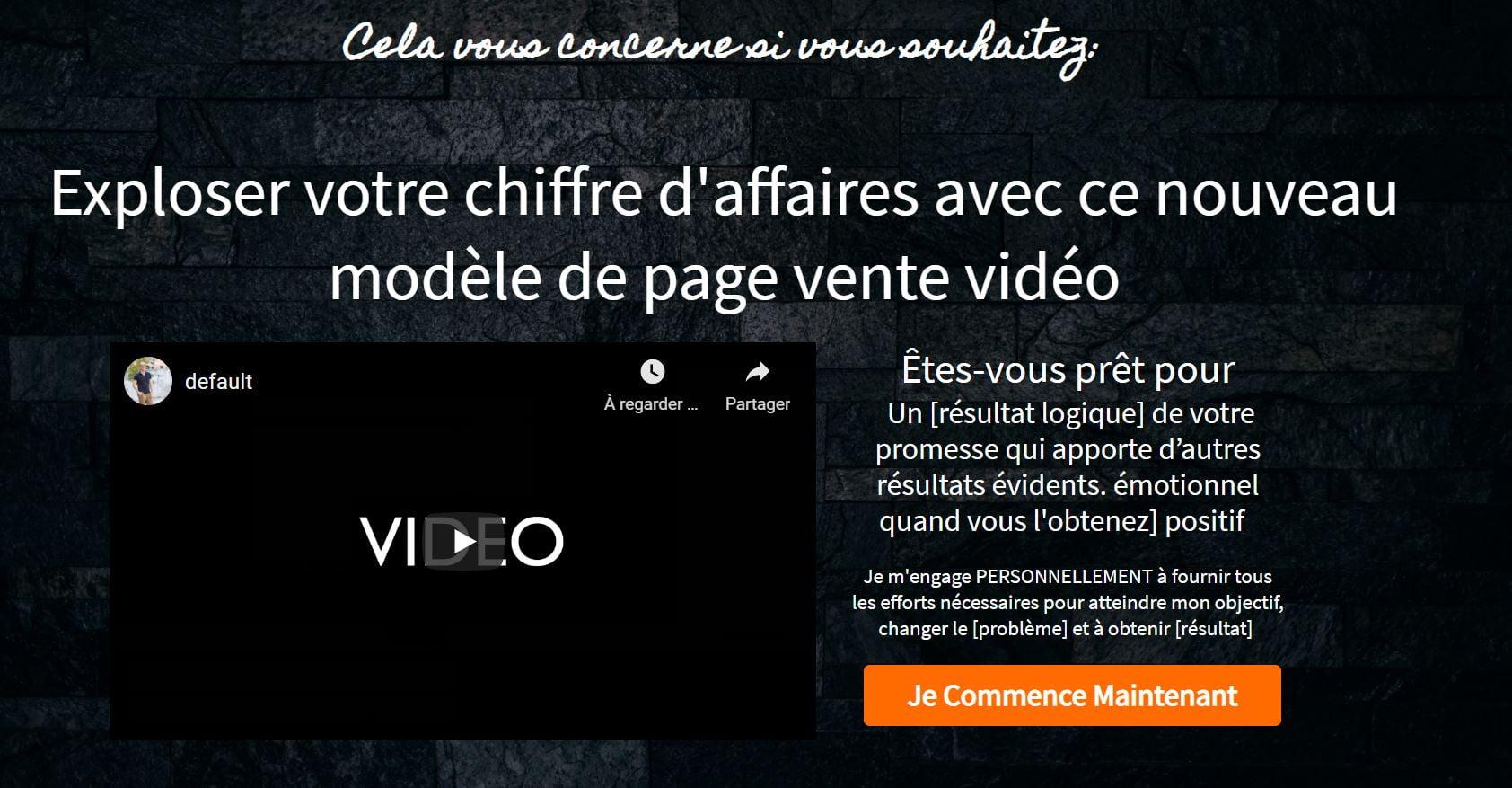 exemple de page de vente video systeme.io