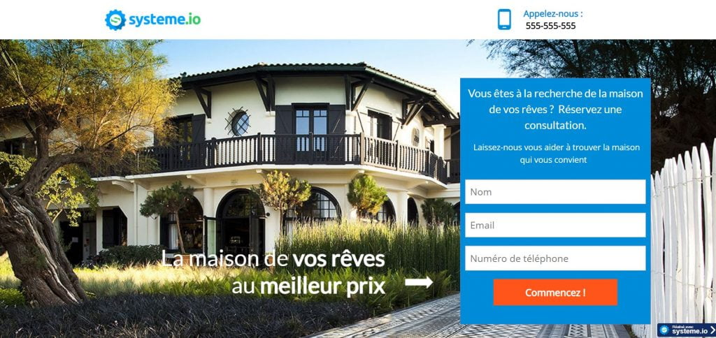 Page Capture immobilier Systeme Io
